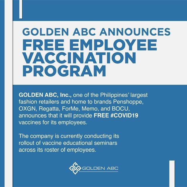 GOLDEN ABC ANNOUNCES FREE EMPLOYEE VACCINATION PROGRAM