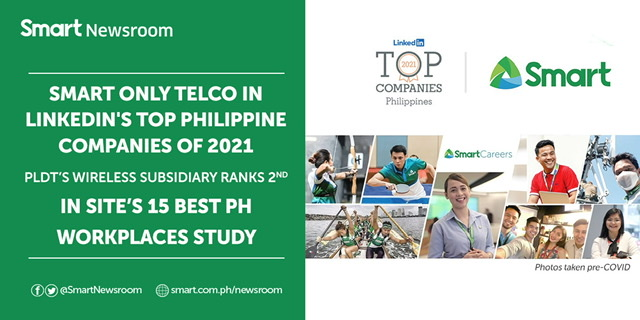 Smart only telco in LinkedIn's Top Philippine Companies of 2021