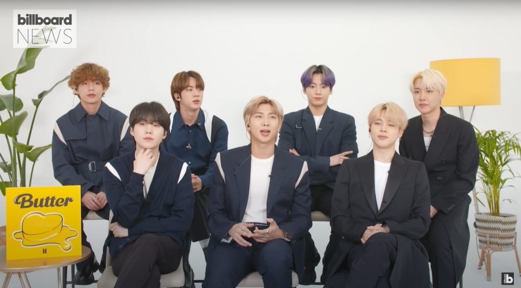 Korean boy band BTS wore Alexander McQueen Pre-Autumn Winter 2021 Men's collection to the Billboard interview on YouTube on May 22nd