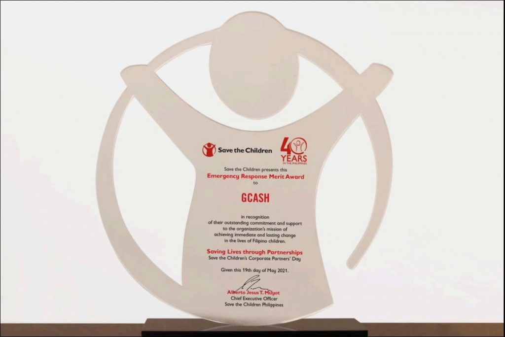 GCash lauded as biggest emergency response donor by Save the Children Philippines