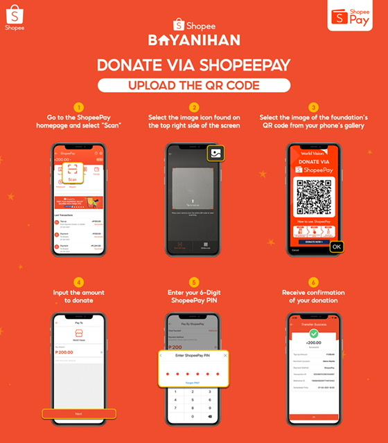 Scan and Donate to Different Charity Organizations via ShopeePay