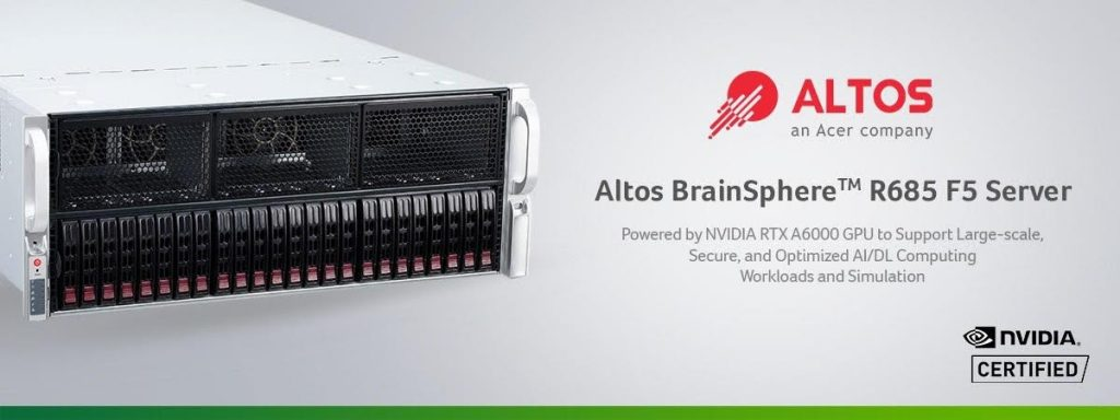 Altos Computing Announces Altos BrainSphereTM R685 F5 Server Powered by NVIDIA RTX A6000 GPU to Support Large-scale, Secure, and Optimized AI/DL Computing Workloads and Simulation