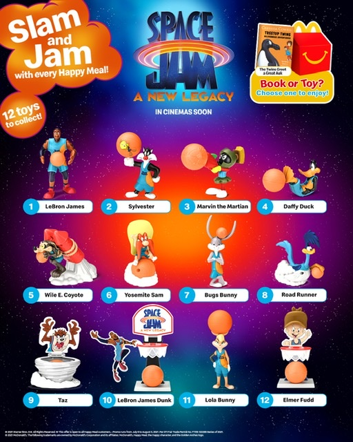 McDonald's announces the arrival of Lebron James and his Space Jam Tune Squad toy collectibles in stores!